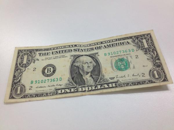 受け取ってもらえなかった米ドル紙幣(Small)